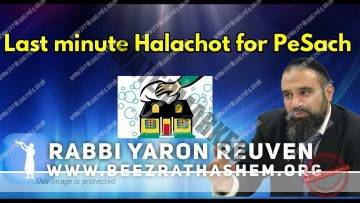 Last minute Halachot for PeSach
