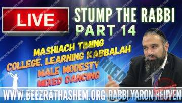 STUMP THE RABBI PART 14 MaShiach Timing, College, Learning Kabbalah, Male Modesty, Mixed Dancing