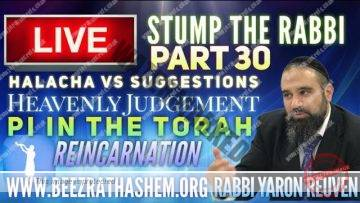 STUMP THE RABBI PART (30) Halacha vs Suggestion, HEAVENLY JUDGEMENT, PI in Torah, REINCARNATION