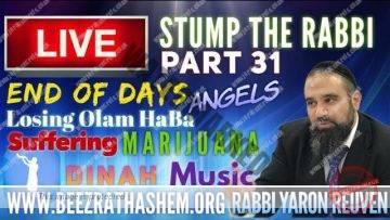 STUMP THE RABBI PART (31) End of Days, Losing Olam HaBa, Angels, DINAH, Suffering, Marijuana, MUSIC