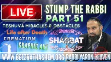 STUMP THE RABBI (51) TeShuva Miracles & Obstacles, SHABBAT, Life After Death, CREMATION, Graphic Art